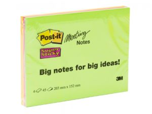 3M Post-it Super Sticky Big Meeting Notes 203mm x 152mm - 4 pack Neon