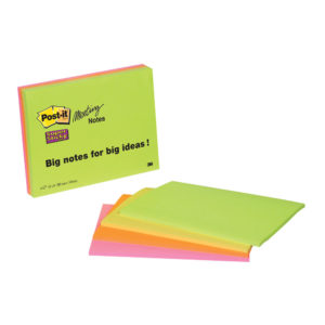 3M Post-it Super Sticky Big Notes 152mm x 101mm - 4 pack Neon