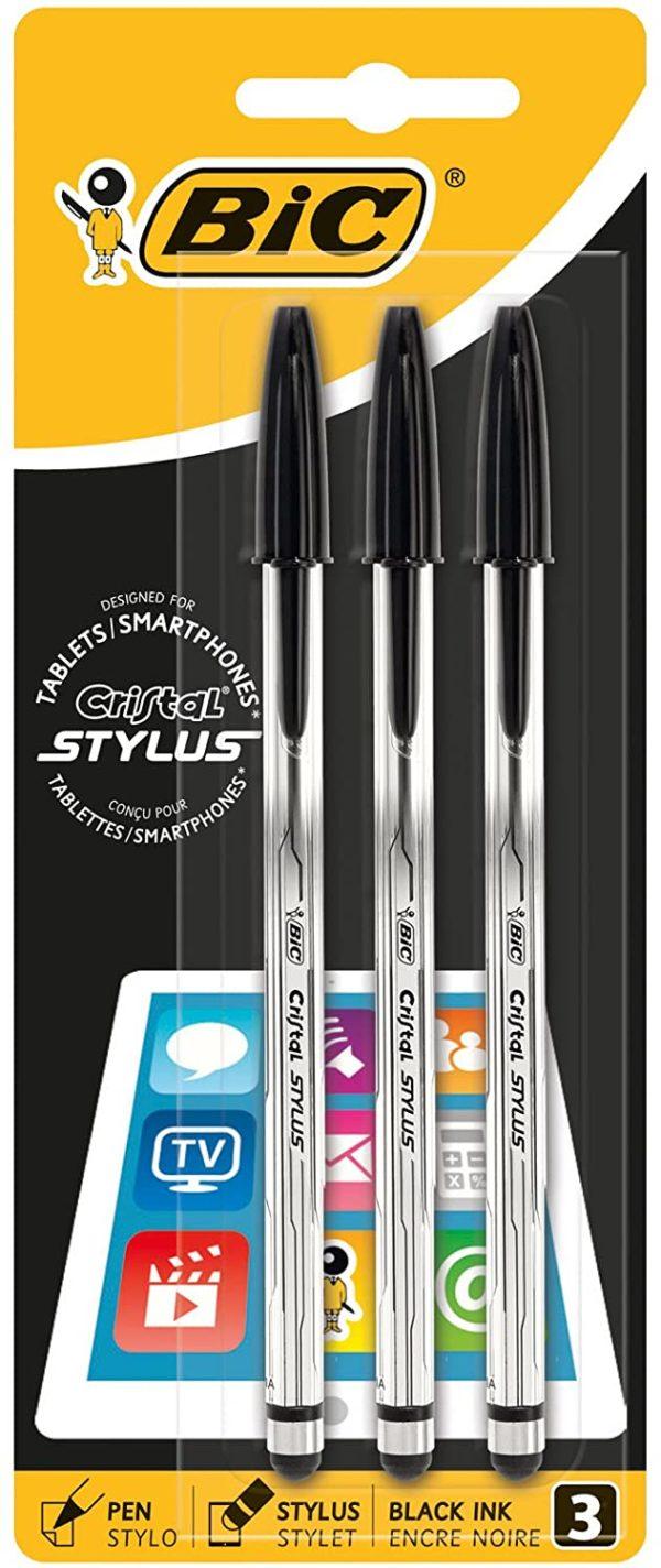 BIC Cristal Stylus Ballpoint Pen Medium 0.4 mm Black Blister Pack of 3
