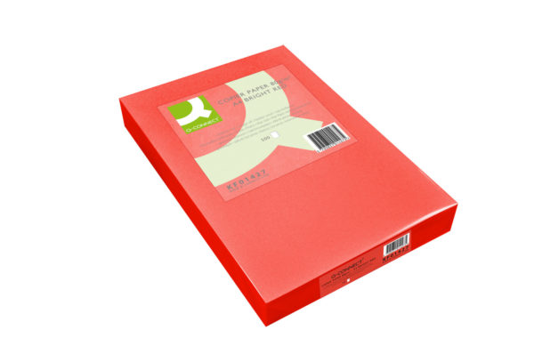 Q-Connect Bright Red Coloured A4 Copier Paper 80gsm Ream (Pack of 500) KF01427