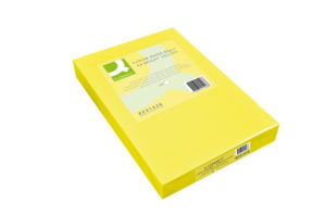 Q-Connect Bright Yellow Coloured A4 Copier Paper 80gsm Ream (Pack of 500) KF01426