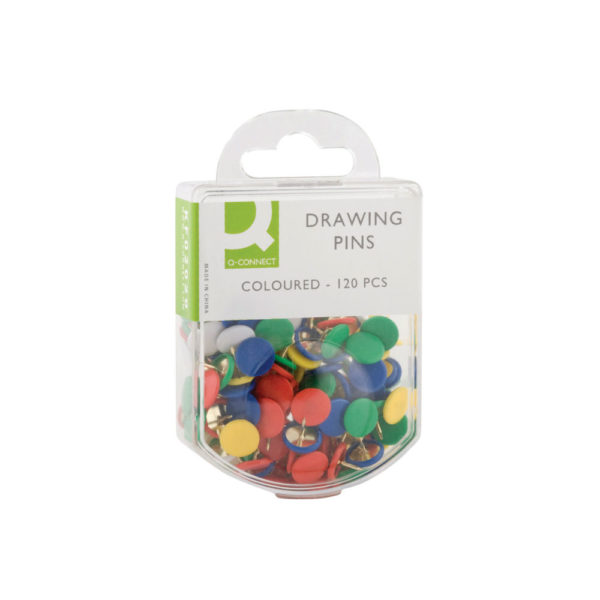 Q-Connect Drawing Pins Coloured (Pack of 120) KF02020