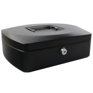 Q-Connect KF02604 Large 12 Inch Key Lock Cash Box Black 8 Coin Compartments