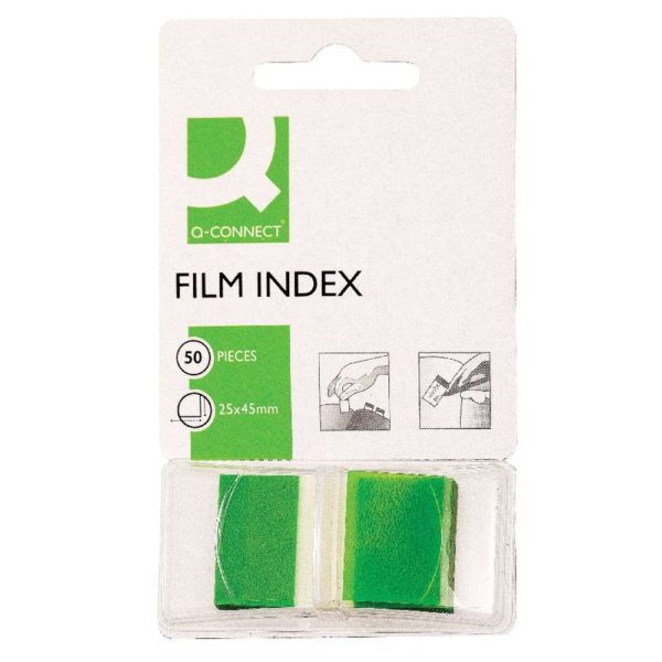 Q-Connect Page Marker Green - Index Tab 25mm With Dispenser (Pack of 50) KF03635