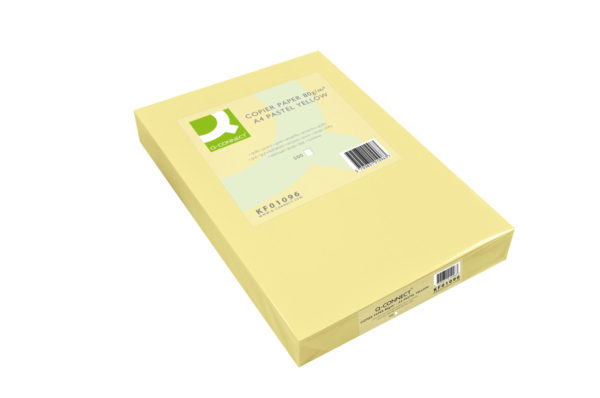 Q-Connect Pastel Yellow Coloured A4 Copier Paper 80gsm Ream (Pack of 500) KF01096