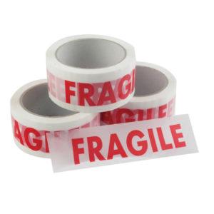 Vinyl Tape Printed Fragile 50mmx66m White Red PPVC-FRAGILE