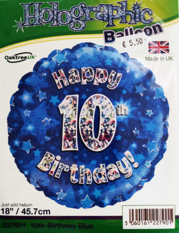 10th Birthday 18inch Foil Balloon Blue Metallic 227901