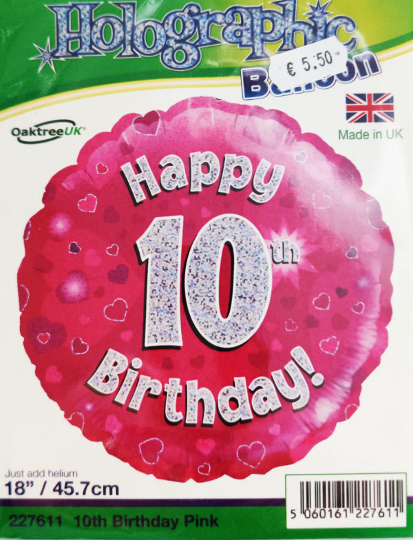 10th Birthday 18inch Foil Balloon Pink Metallic 227611