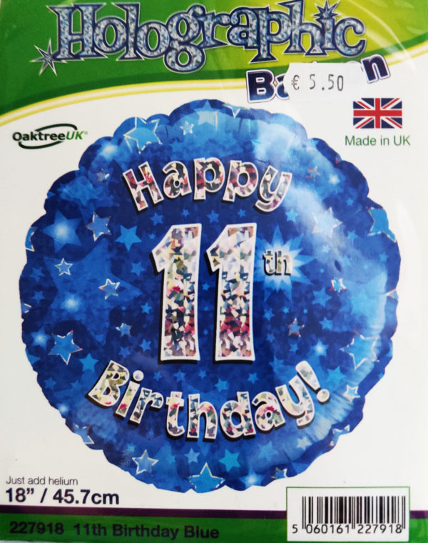 11th Birthday 18inch Foil Balloon Blue Metallic 227918