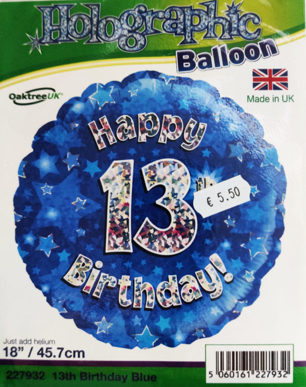 13th Birthday 18inch Foil Balloon Blue Metallic 227932