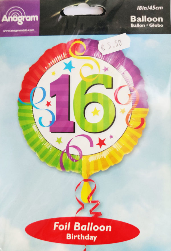 16th Birthday 18inch Foil Balloon Multi Coloured with Streamers 115110