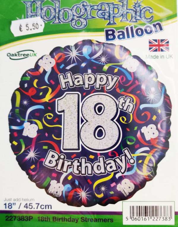 18th Birthday 18inch Foil Balloon Blue Holographic 227383P