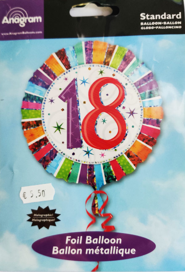 18th Birthday 18inch Foil Balloon Multi Coloured 16067