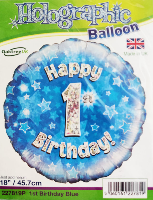1st Birthday 18inch Foil Balloon Blue Metallic 227819P