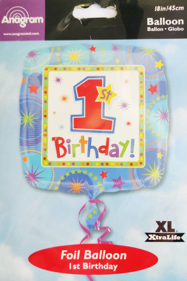 1st Birthday 18inch Foil Balloon Multi Coloured Square Shaped 119290