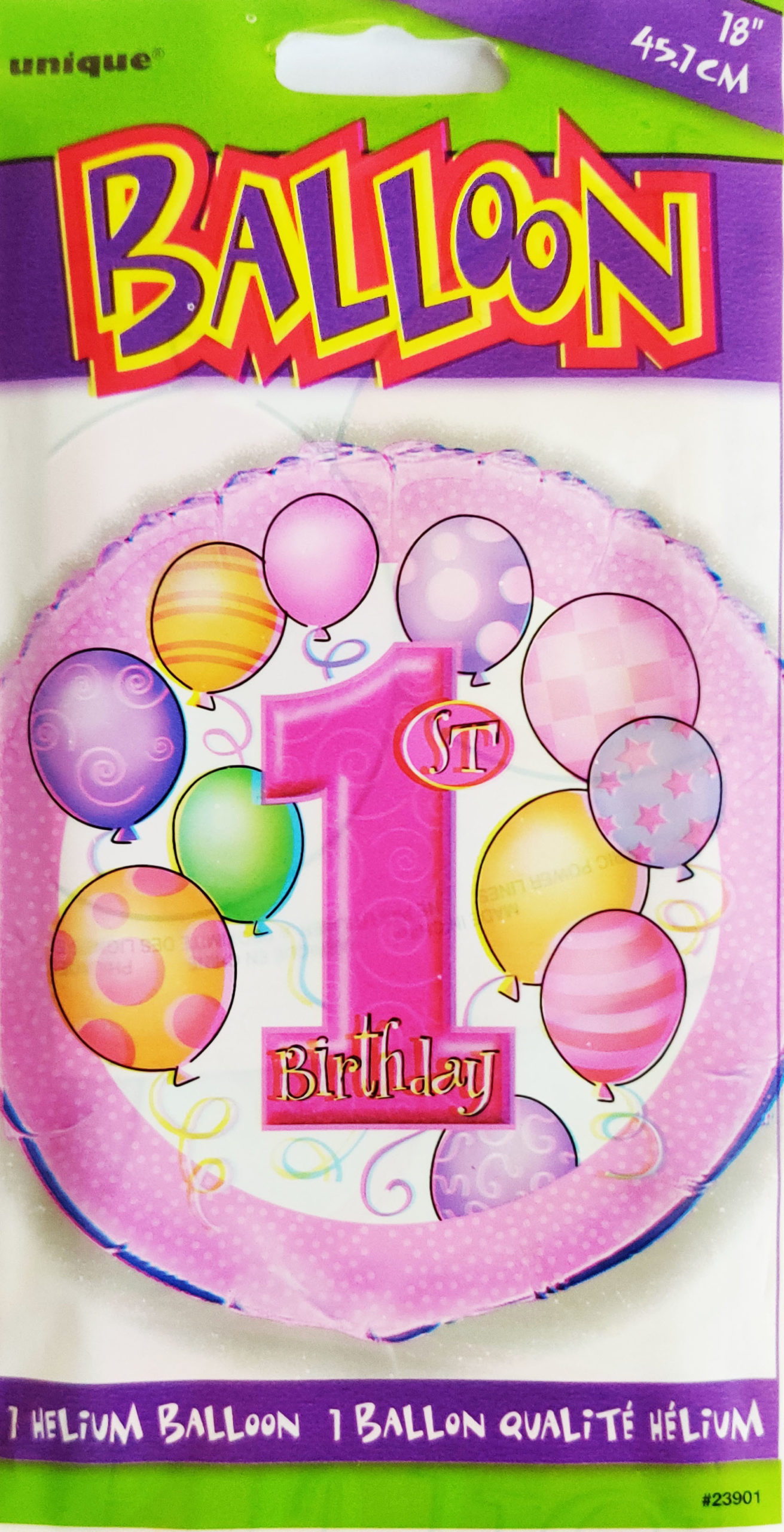 1st Birthday 18inch Foil Balloon Multi coloured 23901