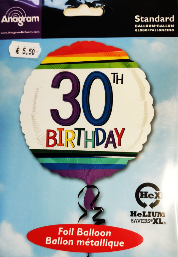 30th Birthday  17inch Foil Balloon Multi Coloured 34434