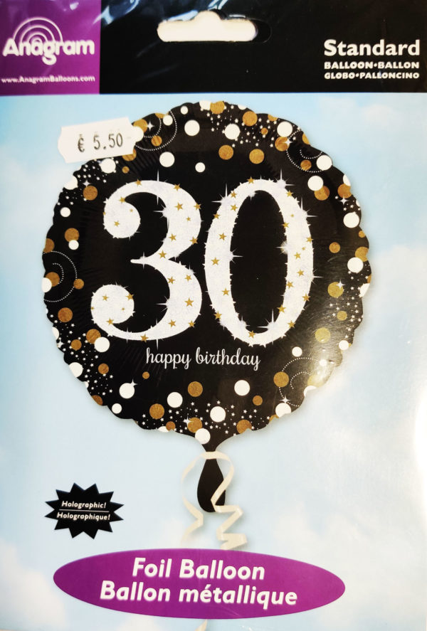 30th Birthday  18inch Foil Balloon Black & Gold 32129