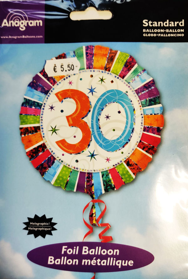 30th Birthday  18inch Foil Balloon Multi Coloured 16069