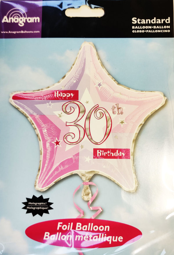 30th Birthday  19inch Foil Balloon Pink Star Shaped 14689