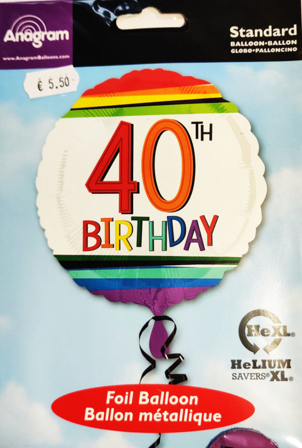 40th Birthday  17inch Foil Balloon Multi Coloured 34435