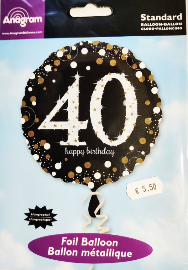 40th Birthday  18inch Foil Balloon Black & Gold 32130