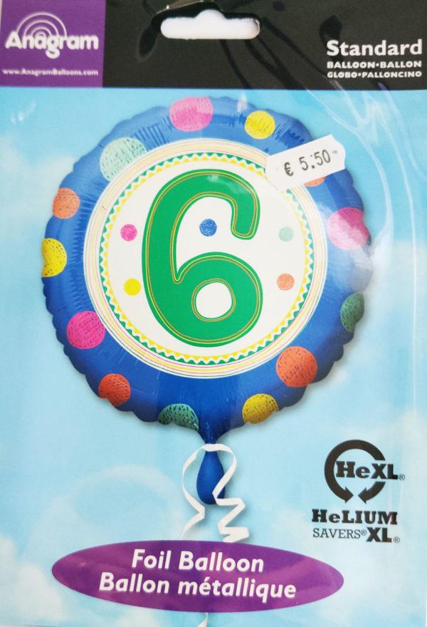 6th Birthday 17inch Foil Balloon Multicoloured 36050
