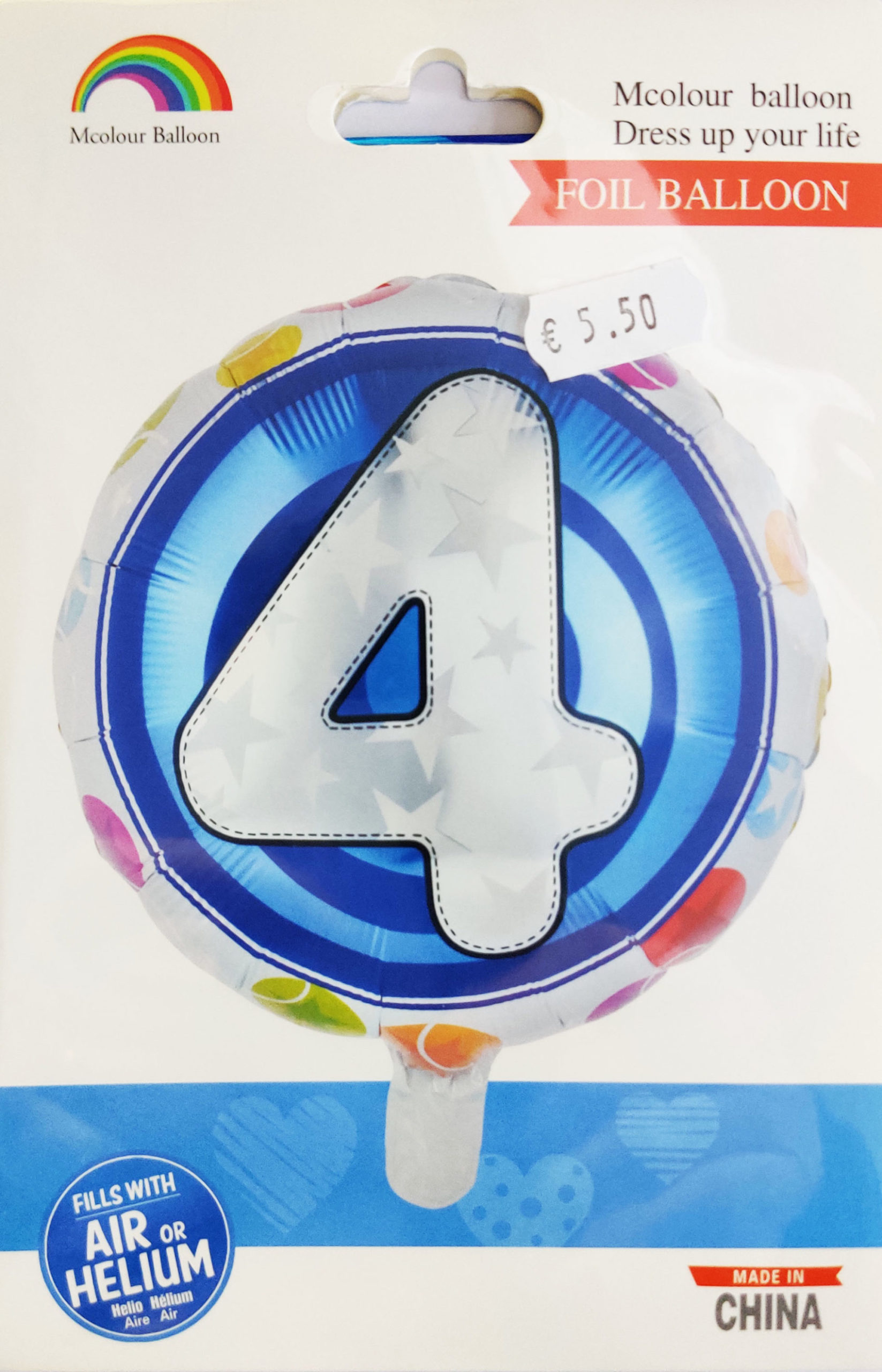 4th Birthday 18inch Foil Balloon Multicoloured