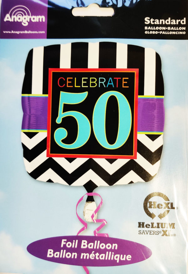 50th Birthday  17inch Foil Balloon Multi Coloured Square Shaped 28679