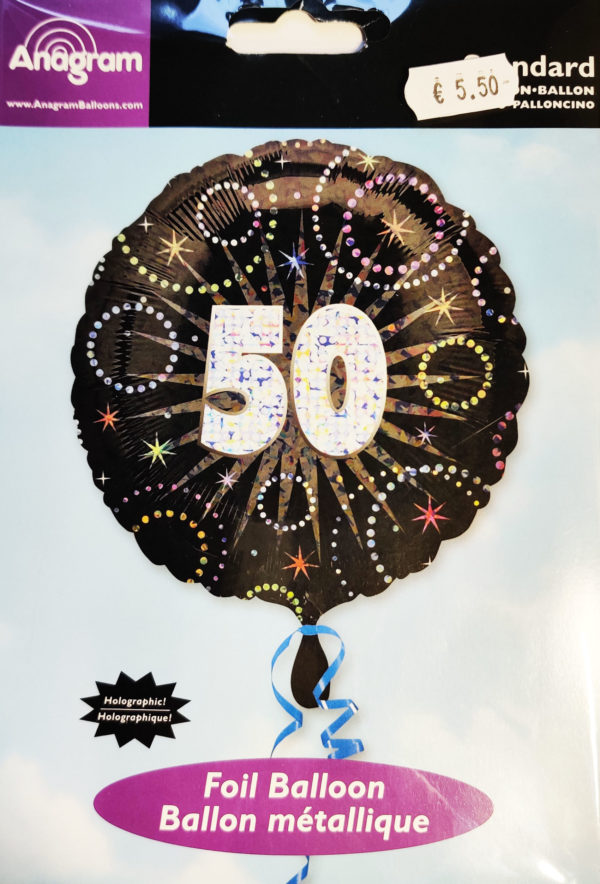 50th Birthday  18inch Foil Balloon Black & Sparkley 22221