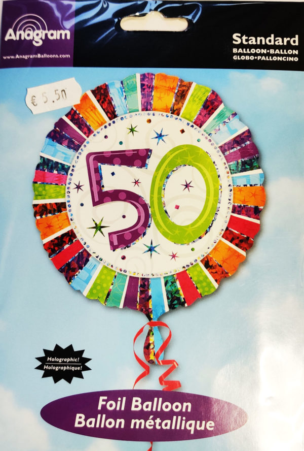 50th Birthday  18inch Foil Balloon Multi Coloured 16071