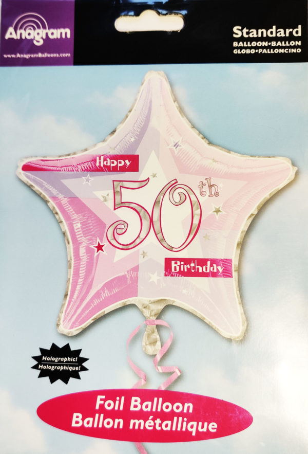 50th Birthday  19inch Foil Balloon Pink Star Shaped 14691