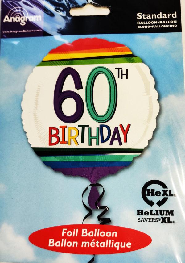 60th Birthday  17inch Foil Balloon Multi Coloured 34437