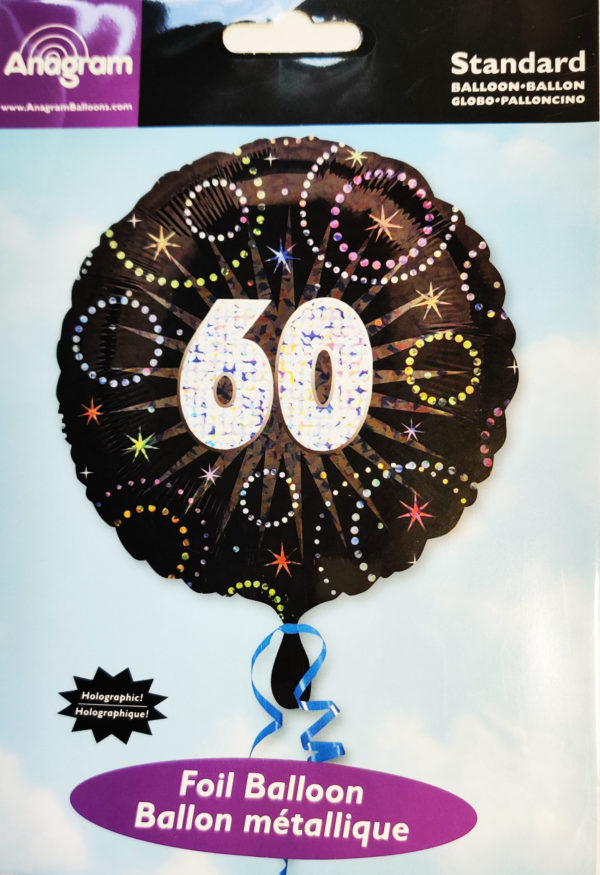 60th Birthday  18inch Foil Balloon Black & Sparkley 22222