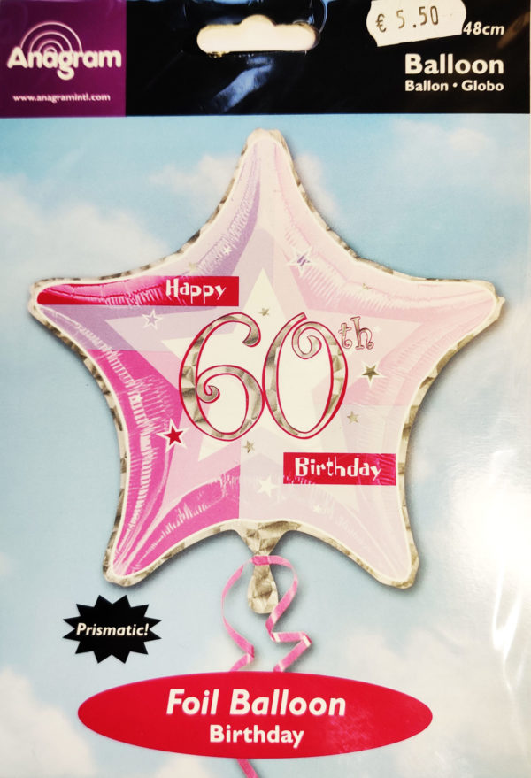 60th Birthday  19inch Foil Balloon Pink Star Shaped 14692