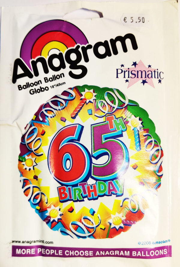 65th Birthday  18inch Foil Balloon Multi Coloured Party Effect 116997