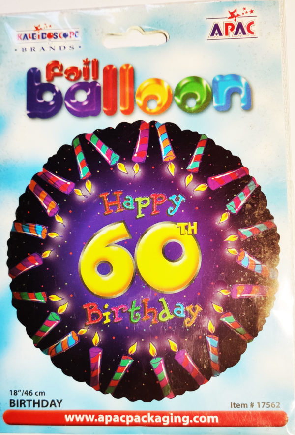 6oth Birthday  18inch Foil Balloon Multi Coloured Candle Effect 17562