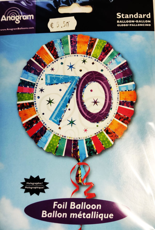 70th Birthday  18inch Foil Balloon Multi Coloured 16073