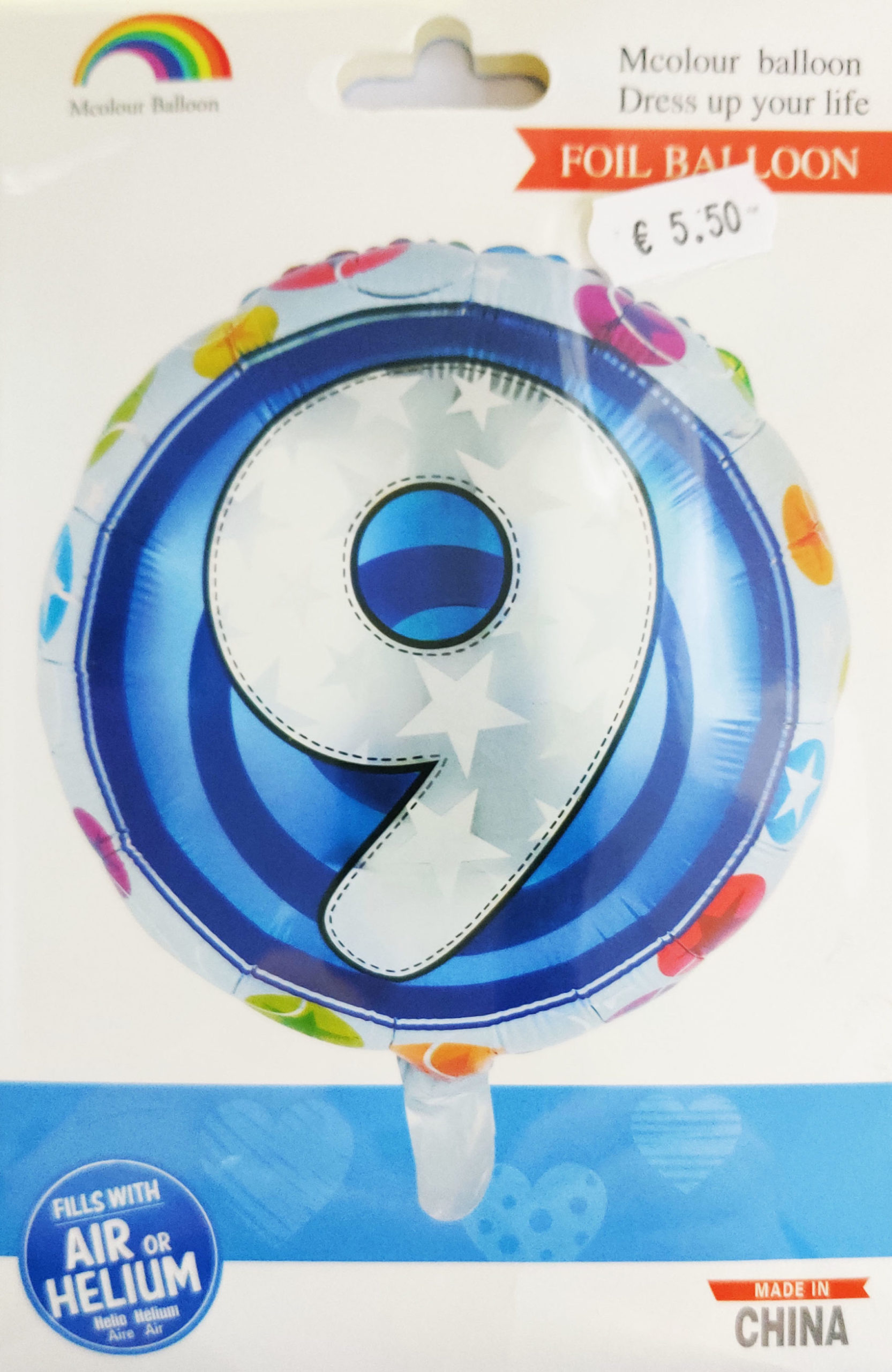 9th Birthday 18inch Foil Balloon Multicoloured