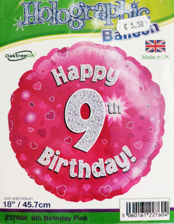 9th Birthday 18inch Foil Balloon Pink Metallic 227604