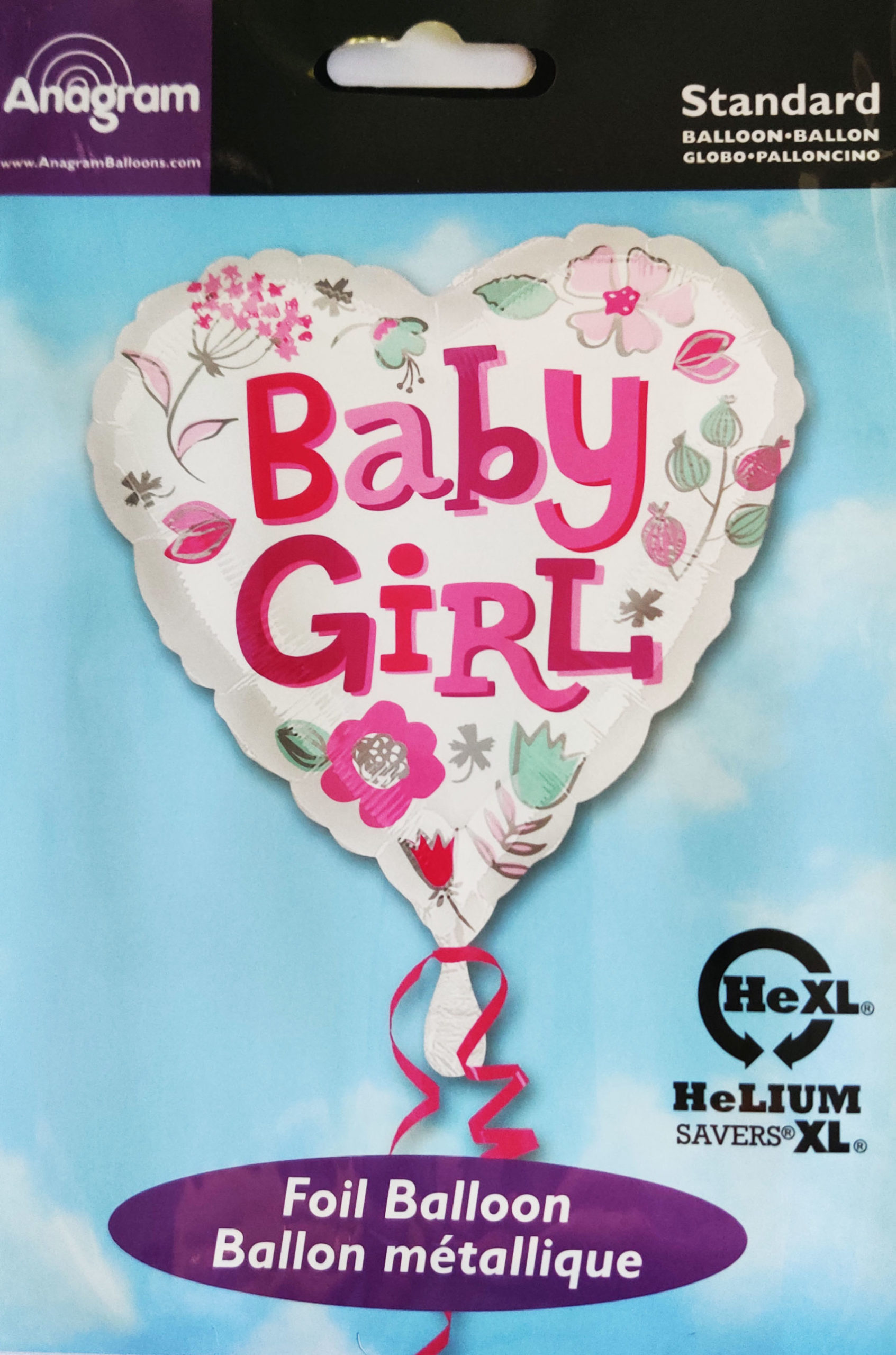 Baby Girl 17inch Foil Balloon Heart Shaped with Flowers 33639