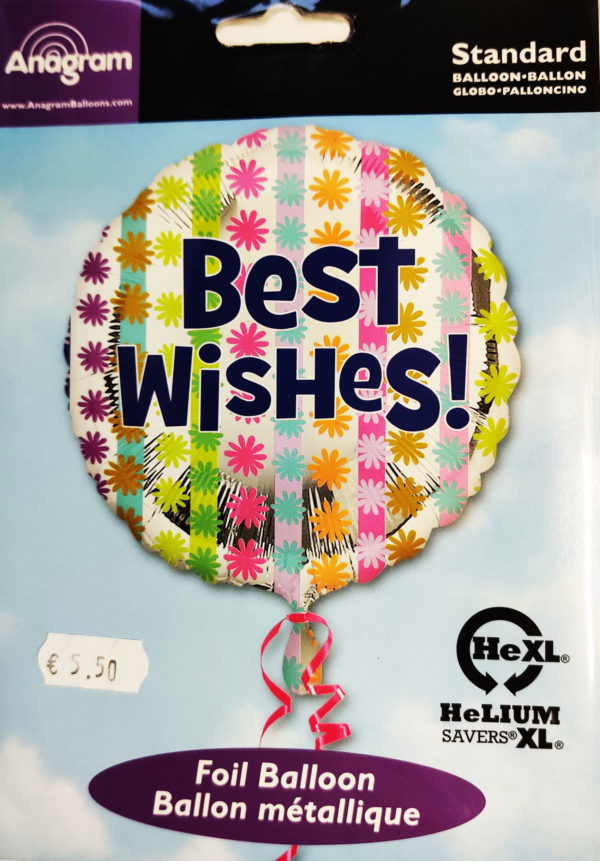 Best Wishes! 17inch Foil Balloon Multi Coloured 26902