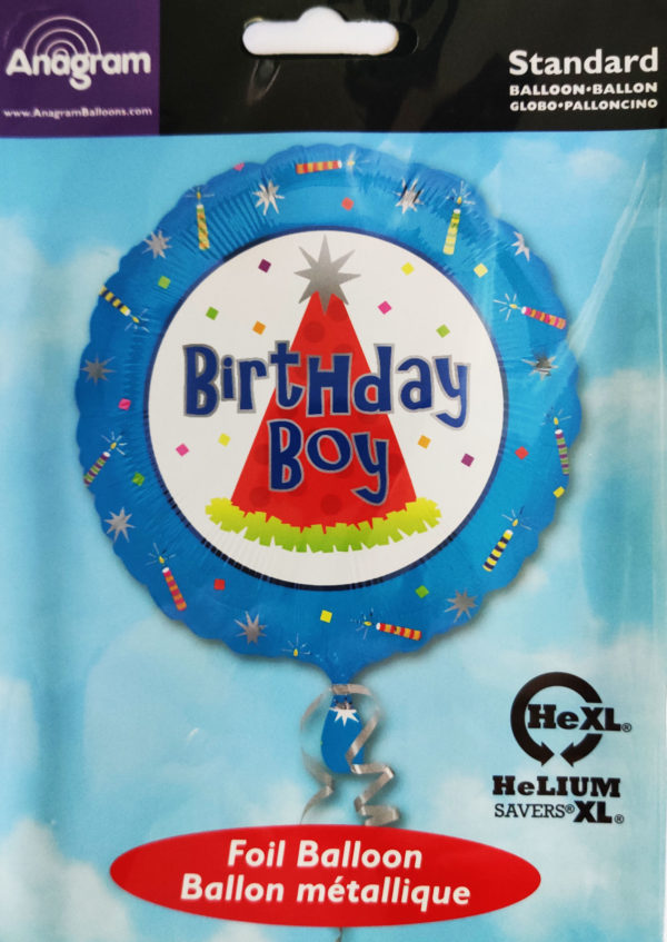 Birthday BOY 17inch Foil Balloon Multi Coloured 10076