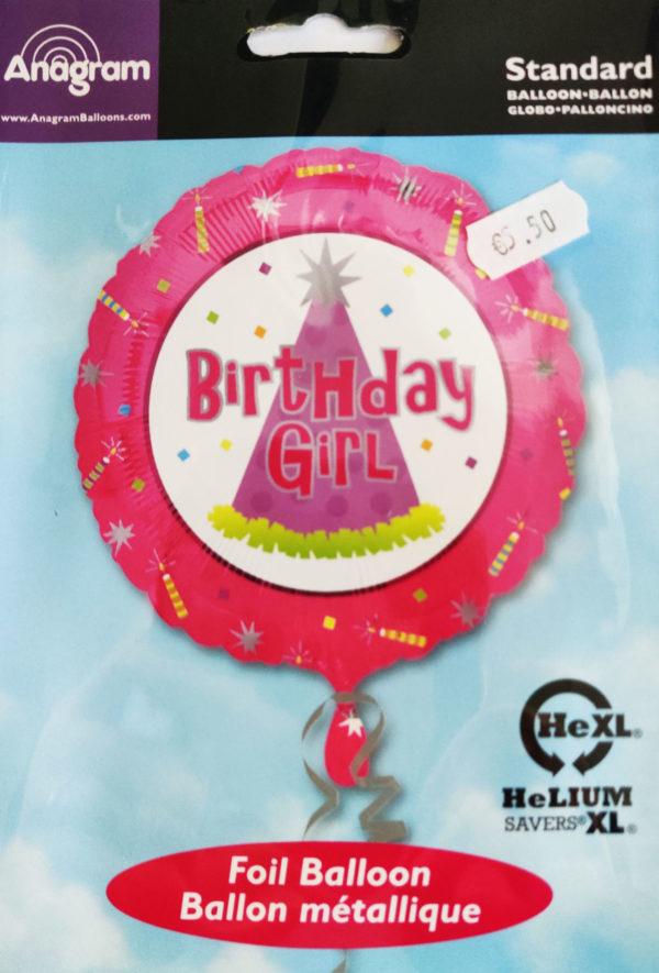 Birthday GIRL 17inch Foil Balloon Multi Coloured 10077