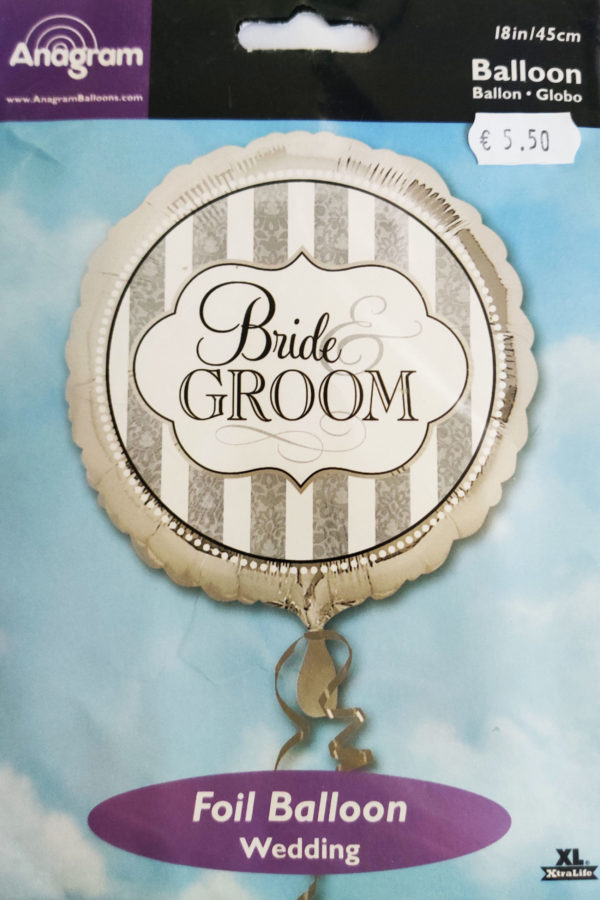 Bride & Groom 18inch Foil Balloon Silver 119327