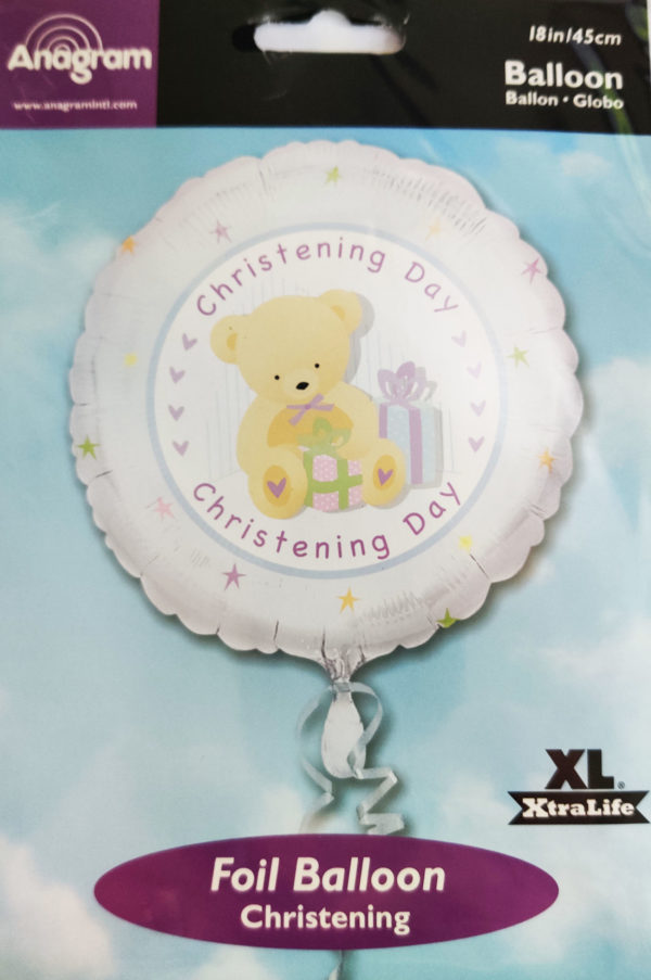 Christening Day 18inch Foil Balloon with Teddy Bear Blue 16034