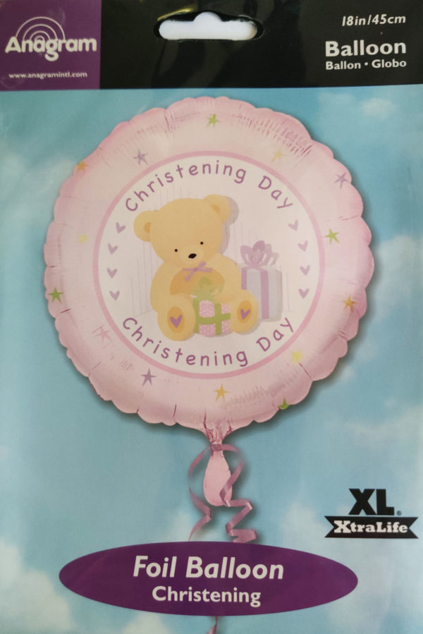 Christening Day 18inch Foil Balloon with Teddy Bear Pink 16033