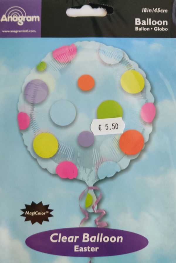 Clear Multi Coloured Dot Design 18inch Balloon 15292
