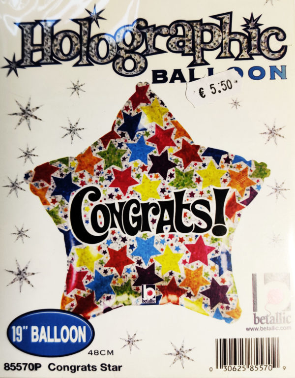 Congrats 19inch Foil Balloon Multi Coloured Star Shaped 85570P