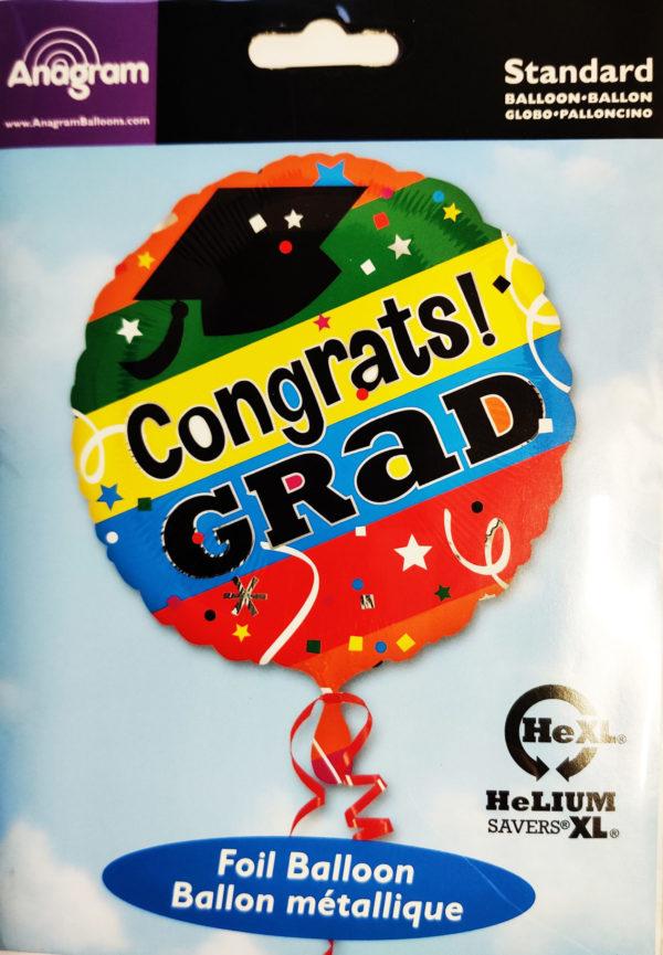 Congrats! GRAD 17inch Foil Balloon Multi Coloured 28166